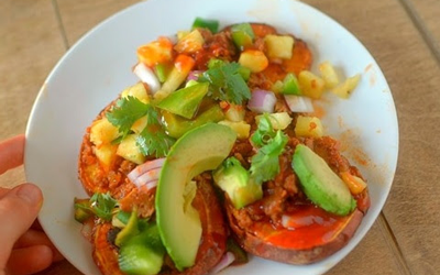 Monthly Recipe: Vegan Hawaiian BBQ Sweet Potato Nachos