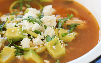 "Monthly Recipe: Chipotle Chicken Zucchini ""Fideo"" Soup"